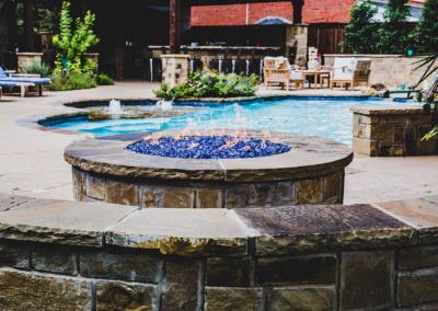 Custom Stone Fire pit with Fireglass - Fort Worth