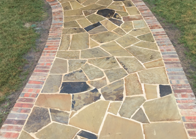 Oklahoma Flagstone with brick border - Aledo