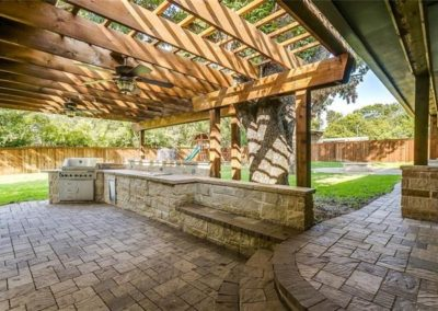 Outdoor Kitchen w_ Cedar Pergola - Ridglea Fort Worth